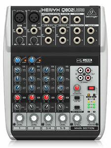 Behringer Xenyx Q802 USB Mischpult Analog Mixer USB Audio Interface XLR Mic EQ