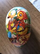 Vintage West German Large Paper Mache Easter Egg Container Colorful Duck Design