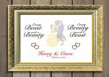Wedding BEAUTY and the BEAST Him Her Couples Love Anniversary Personalised Gift