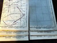 6 Vintage Aeronautical WWII Chart Maps - USA incl. Gold Mines and Quarries