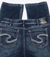 Silver Jeans Suki Fluid Denim Womens 31x28 Dark Wash Mid Rise Bootcut