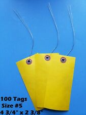 100 Weather Proof Yellow 4 34 X 2 38 Size 5 Tyvek Inventory Tags With Wire