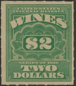 RE 80-SERIES OF 1916 $2 CENT WINE STAMP -MNG AS ISSUED #2 77