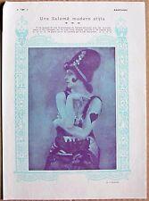 Vintage 1914 francés Foto Impresión Ballet ruso estrella Tamara Karsavina como Salome