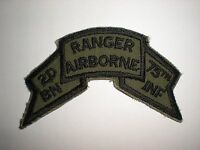 ORIGINAL 1970'S US ARMY 2ND RANGER BATTALION SUBDUED TAB PATCH