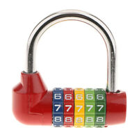 Small Combination Number Code Padlock Lock Travel Bag 5 Dial Digit Red