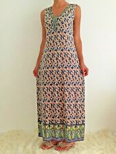 Women's Sleeveless Beige Beaded Paisley Boho Maxi Evening Party Dress Size 18-12