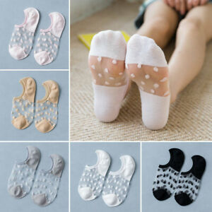 1 Pair Women Ankle Socks Low Cut Invisible Mesh Boat Socks Polka Dot Transparent