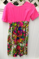 Vintage Pink Dress With Floral Skirt Sz 6
