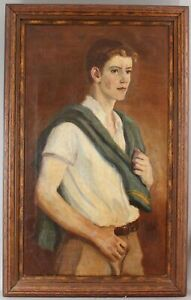 1925 Antique HENRIETTA DUER American Portrait Oil Painting, Handsome Young Man