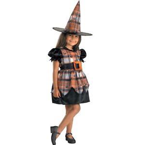 Toddler Girl's Spider Plaid Witch Black & Orange Halloween Costume Size 4 - 6X