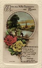 """1920s or 30s colour real photo postcard. """" with all kind thoughts & wishes """""""
