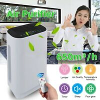 Air Purifier HEPA Filter 650m³/H Germ Odor Dust Cleaner Remote +Filter Element Q