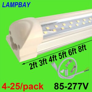 LED Tube Lights 2ft 3ft 4ft 5ft 6ft 8ft Double Row Lighting T8 Integrated Bulb