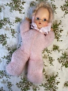 Vintage Baby Doll Pink Plush 70s Plastic Face Douglass Style
