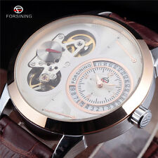 Skeleton Mens Automatic Mechanical Wrist Watch Fashion Forsining Brown Leather