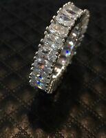 18k White Gold Eternity Ring made w/ Swarovski Crystal Stone Anniversary Band