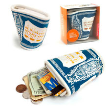 Kikkerland Lucky Beggar Wallet New York Coffee Cup Faux Leather Coin Card Purse