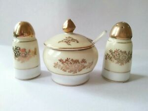 V' Rare Vintage Meito China Cruet Set With Gold Hand Painted Salt Pepper Mustard
