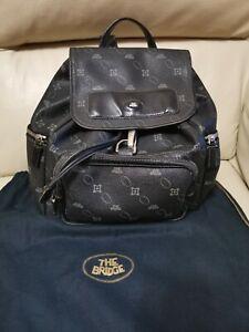 Borsa zaino donna, vera pelle THE BRIDGE backpack bag nero con custodia ottimo!