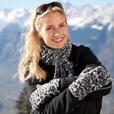 Result Snow Leopard Scarf & Glove Set One Size Present Winter Essentials R366X