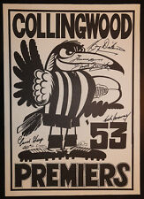 1953 Collingwood Magpies Premiers Weg Poster signed 5 Premiership Players