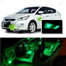 For Hyundai Accent 2012-2016 Green LED Interior Kit + Green License Light LED