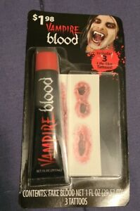 Halloween VAMPIRE BLOOD & 3 Life-like TATTOOS