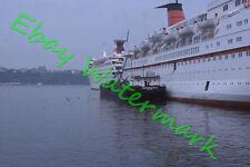 Exxon Fueling Barge Homes Line Oceanic, Doric Cruise Ships 1977 Kodak 35mm Slide