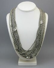 Loeber + Look Sterling Silver and Taupe Fabric Cord Statement Necklace