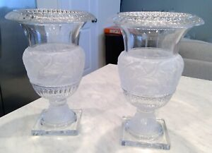 Crystal Shannon Design by Godinger Athena Urn Pair $175 Excellent Condition