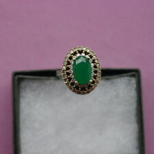 Ring Emerald and White Topaz . Silver 925