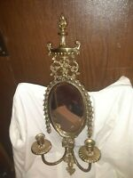 Vintage Solid Brass Wall Sconce Double Candle Stick Holder With Mirror