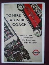 POSTCARD LTM 301 LONDON TRANSPORT 1934 POSTER TH HIRE A BUS OR COACH