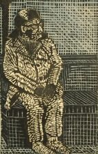 Bodil Brems pencil signed modernist contemporary linocut engraving 1973