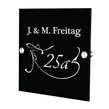 Plexiglas Acryltafel Türschild inkl. Gravur Motiv Hausnummer mit Schwung