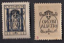 FIUME 1924 VARIETA' Decalco retro SCRITTA REGNO D'ITALIA  MNH** FIRMATO REGALO