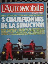 revue L'AUTOMOBILE 1982 VW GOLF GTI / XR3i / ALFASUD Ti / CIRCUIT PRODUCTION