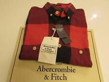 NWT AUTHENTIC ABERCROMBIE & FITCH MENS WASHED FLANNEL SHIRT / SLIM / XS