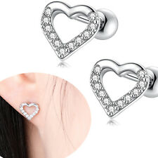 Zirconia Love Heart Cartilage Stud Earrings 2pcs 18G Stainless Steel Clear Cubic