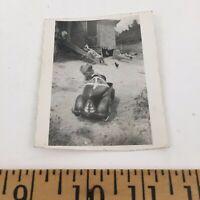 Vintage Photograph of a Boy Riding Antique Pedal Car  - Rural Appalachia USA