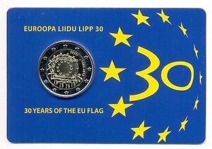 Estonia 2015 Commemorative 30 Years of the EU Flag 2 Euros Coin Card BU