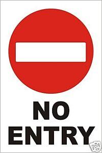 NO ENTRY WARNING SIGN - 600mm x 400mm RIGID PLASTIC sign