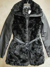WOMENS H&M EXCLUSIVE FAUX FUR BLACK ZIP UP COAT JACKET OUTERWEAR XSMALL XS COMFY