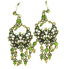Vintage Victorian Style Green Crystal Rhinestone Chandelier Pierced Earrings 2.2