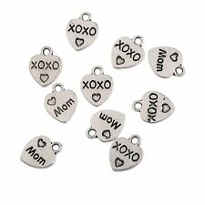 MOM Word Heart Beads Tibetan Silver Charms Pendant Bracelet Gift 10*9mm 10pcs