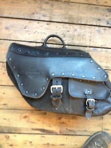 HARLEY DYNAGLIDE  SADDLEBAGS GENUINE LEATHER/CANVAS COMPLETE PAIR