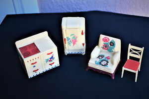 VINTAGE RENWAL DOLL FURNITURE WITH PAINTED MOTIFS