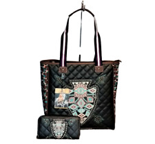Montana West Spade Purse Matching Wallet Set Quilted Western Country Handbag