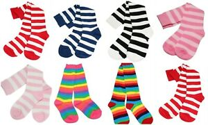 Kids Girls Rainbow Striped Knee High Dancing Fancy Costume Party Socks Age 3-10